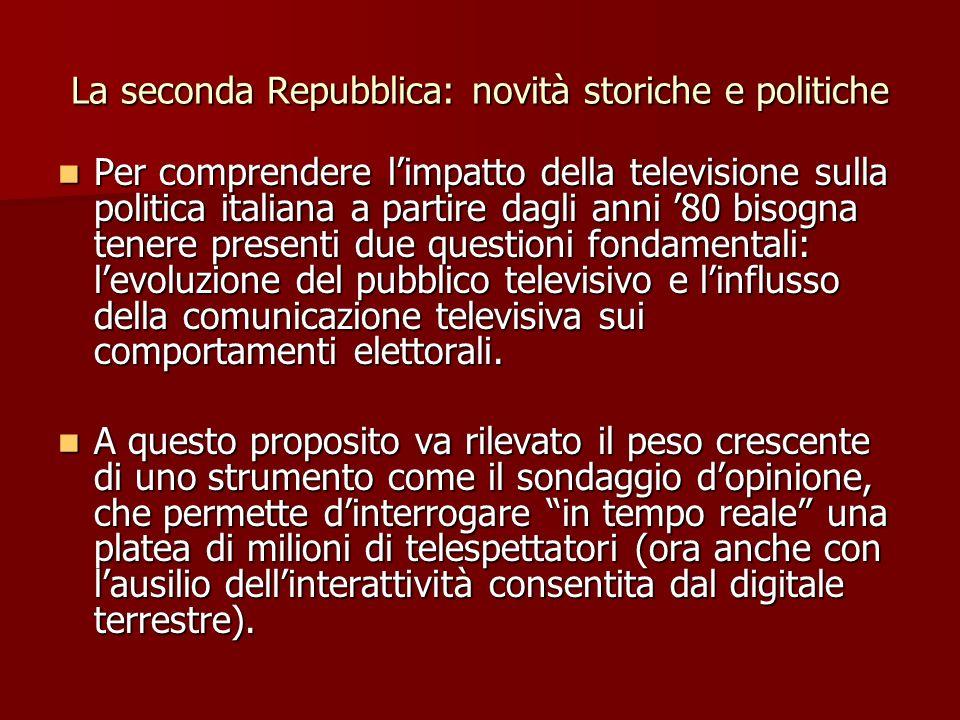 La seconda Repubblica: novità storiche e politiche Per comprendere limpatto della televisione sulla politica italiana a partire dagli anni 80 bisogna