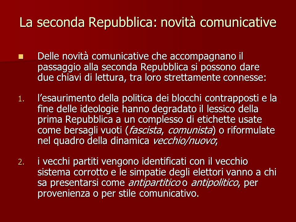La seconda Repubblica: novità comunicative Delle novità comunicative che accompagnano il passaggio alla seconda Repubblica si possono dare due chiavi