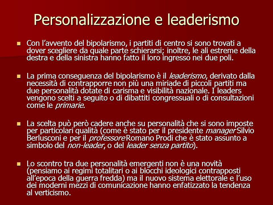Personalizzazione e leaderismo Con lavvento del bipolarismo, i partiti di centro si sono trovati a dover scegliere da quale parte schierarsi; inoltre,