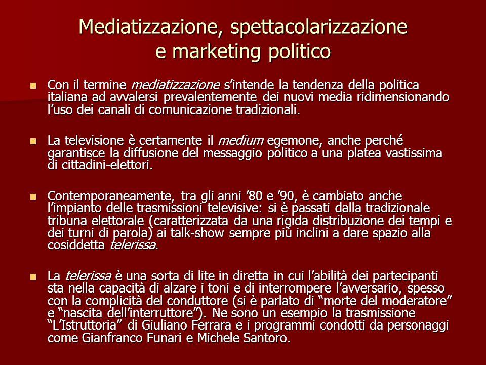 Mediatizzazione, spettacolarizzazione e marketing politico Con il termine mediatizzazione sintende la tendenza della politica italiana ad avvalersi pr