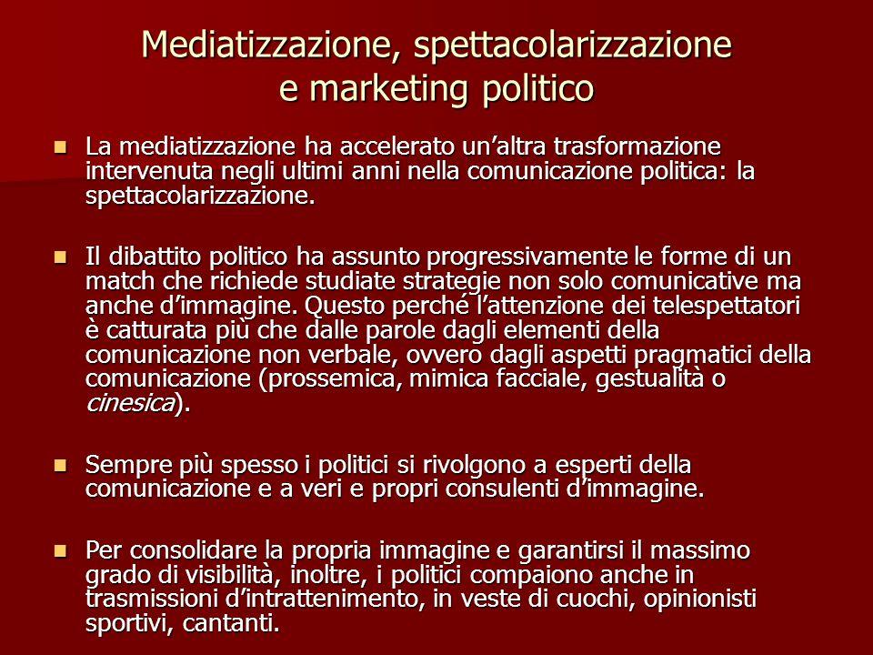 Mediatizzazione, spettacolarizzazione e marketing politico La mediatizzazione ha accelerato unaltra trasformazione intervenuta negli ultimi anni nella