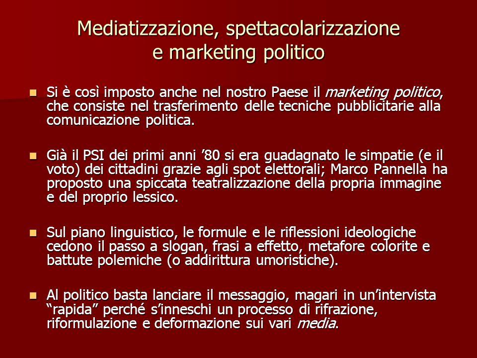 Mediatizzazione, spettacolarizzazione e marketing politico Si è così imposto anche nel nostro Paese il marketing politico, che consiste nel trasferime