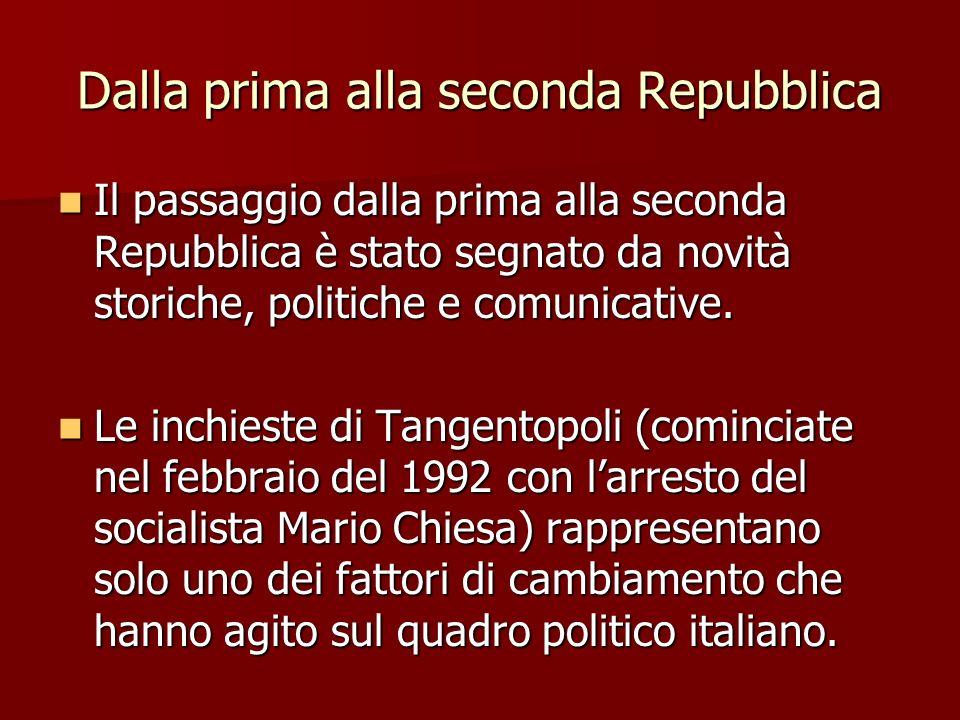 Dalla prima alla seconda Repubblica Il passaggio dalla prima alla seconda Repubblica è stato segnato da novità storiche, politiche e comunicative. Il