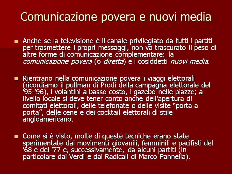 Comunicazione povera e nuovi media Anche se la televisione è il canale privilegiato da tutti i partiti per trasmettere i propri messaggi, non va trasc