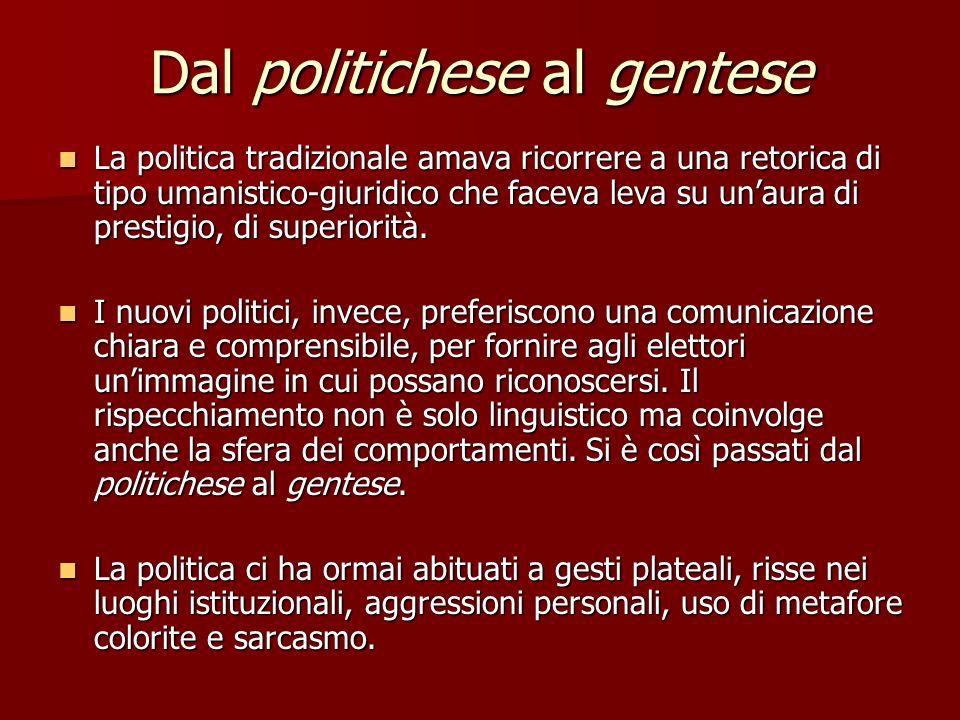 Dal politichese al gentese La politica tradizionale amava ricorrere a una retorica di tipo umanistico-giuridico che faceva leva su unaura di prestigio