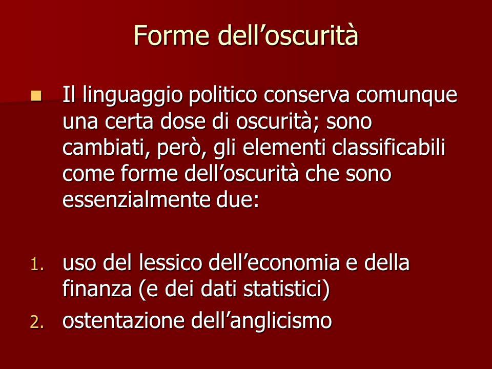 Forme delloscurità Il linguaggio politico conserva comunque una certa dose di oscurità; sono cambiati, però, gli elementi classificabili come forme de