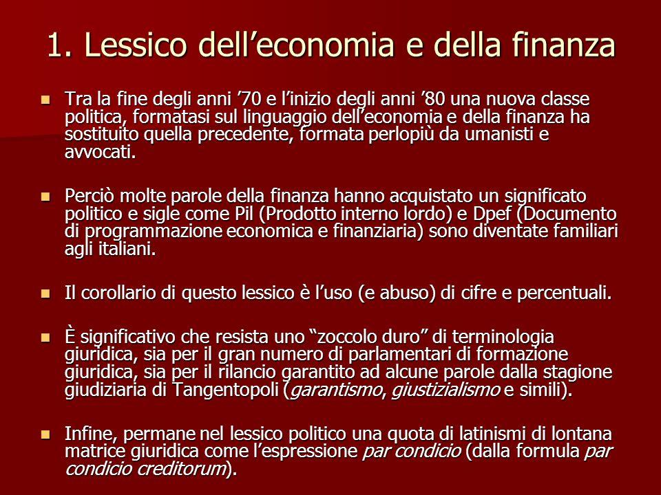 1. Lessico delleconomia e della finanza Tra la fine degli anni 70 e linizio degli anni 80 una nuova classe politica, formatasi sul linguaggio dellecon
