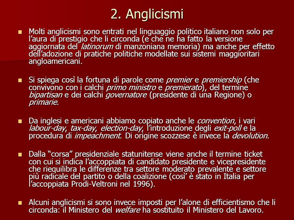 2. Anglicismi Molti anglicismi sono entrati nel linguaggio politico italiano non solo per laura di prestigio che li circonda (e che ne ha fatto la ver
