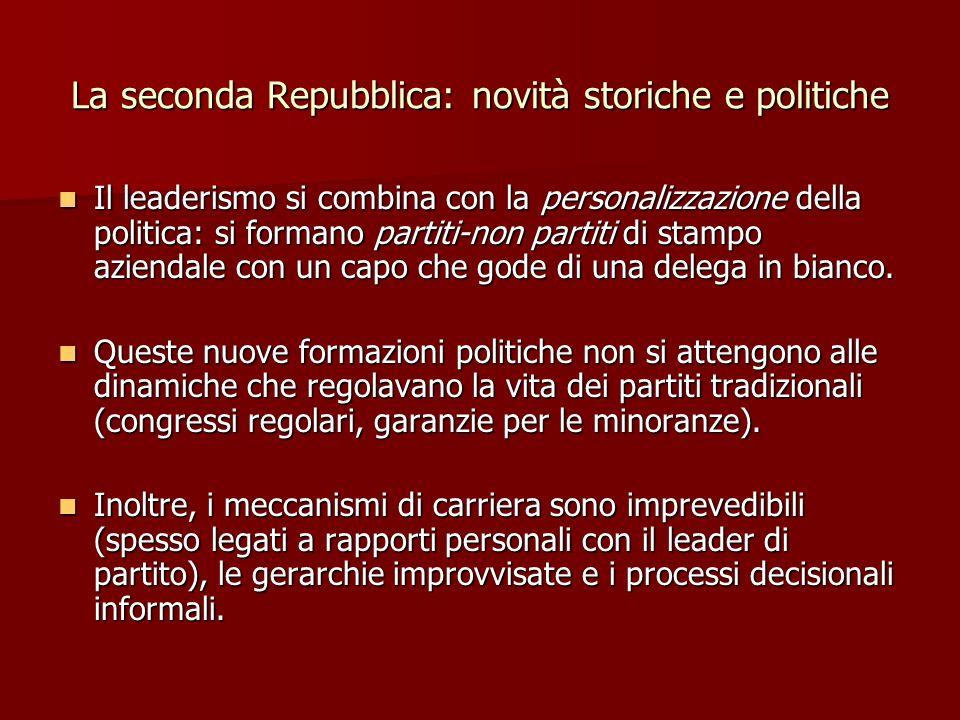 La seconda Repubblica: novità storiche e politiche Il leaderismo si combina con la personalizzazione della politica: si formano partiti-non partiti di