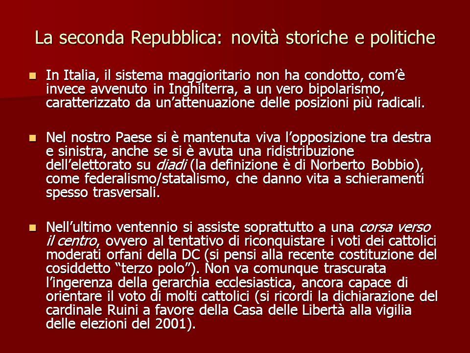 La seconda Repubblica: novità storiche e politiche In Italia, il sistema maggioritario non ha condotto, comè invece avvenuto in Inghilterra, a un vero