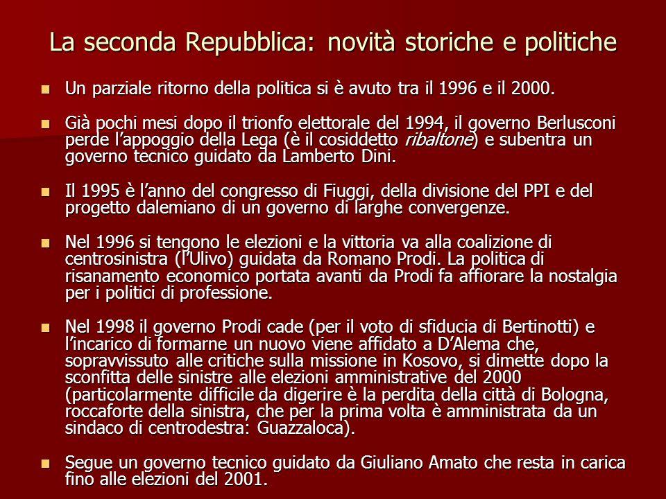 La seconda Repubblica: novità storiche e politiche Un parziale ritorno della politica si è avuto tra il 1996 e il 2000. Un parziale ritorno della poli