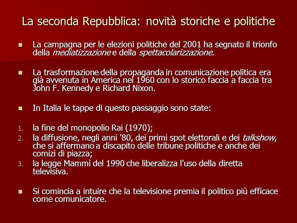 La seconda Repubblica: novità storiche e politiche Per comprendere limpatto della televisione sulla politica italiana a partire dagli anni 80 bisogna tenere presenti due questioni fondamentali: levoluzione del pubblico televisivo e linflusso della comunicazione televisiva sui comportamenti elettorali.