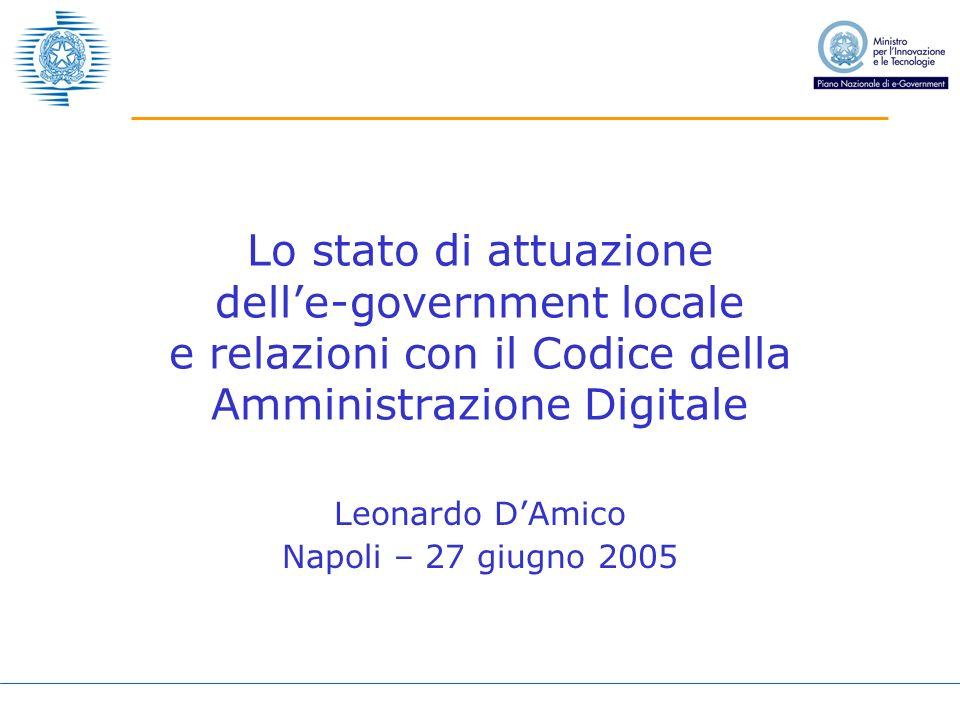 Leonardo DAmico Napoli – 27 giugno 2005 Lo stato di attuazione delle-government locale e relazioni con il Codice della Amministrazione Digitale