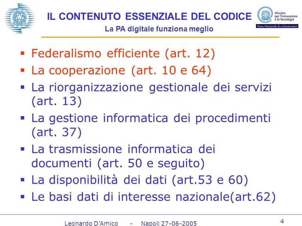 Leonardo DAmico - Napoli 27-06-2005 4 IL CONTENUTO ESSENZIALE DEL CODICE La PA digitale funziona meglio Federalismo efficiente (art.