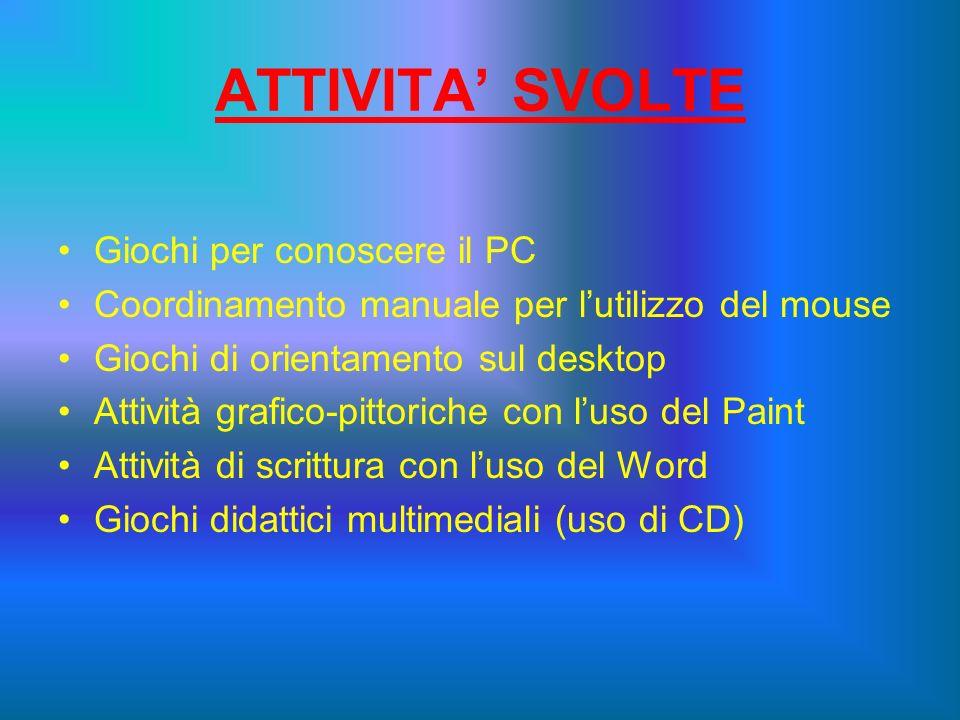 ATTIVITA SVOLTE Giochi per conoscere il PC Coordinamento manuale per lutilizzo del mouse Giochi di orientamento sul desktop Attività grafico-pittorich