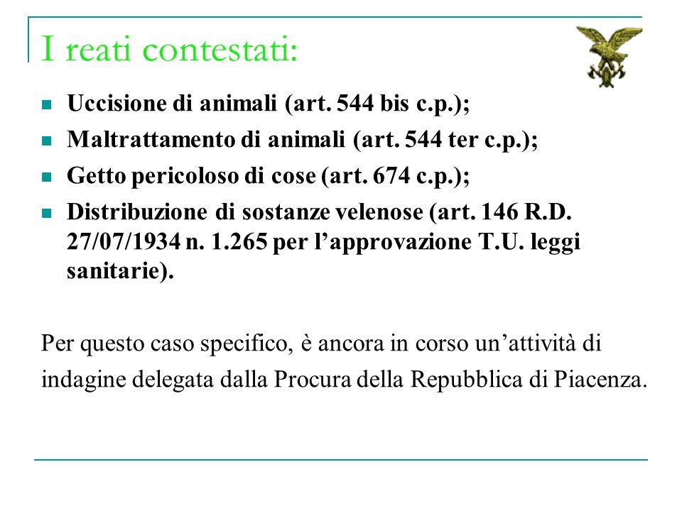 I reati contestati: Uccisione di animali (art. 544 bis c.p.); Maltrattamento di animali (art. 544 ter c.p.); Getto pericoloso di cose (art. 674 c.p.);