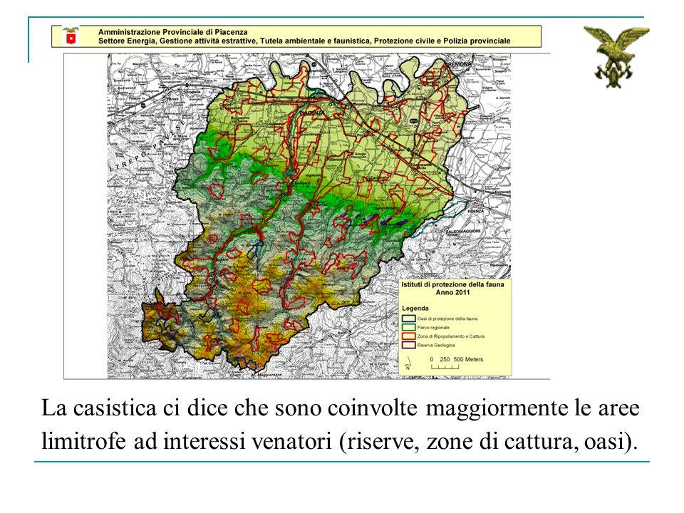 La casistica ci dice che sono coinvolte maggiormente le aree limitrofe ad interessi venatori (riserve, zone di cattura, oasi).