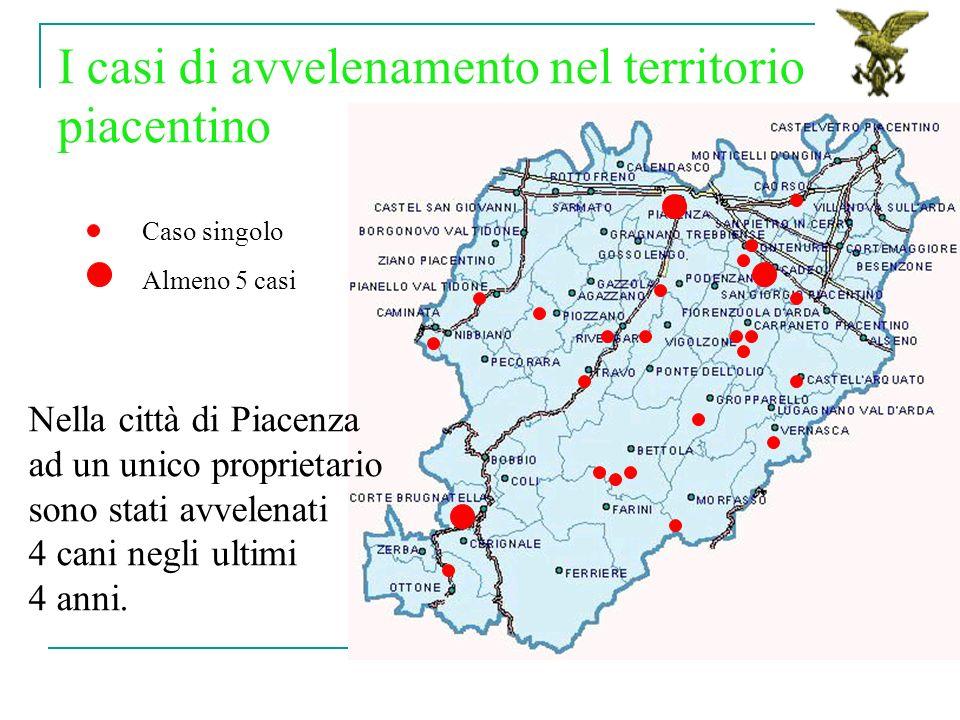 I casi di avvelenamento nel territorio piacentino Caso singolo Almeno 5 casi Nella città di Piacenza ad un unico proprietario sono stati avvelenati 4 cani negli ultimi 4 anni.