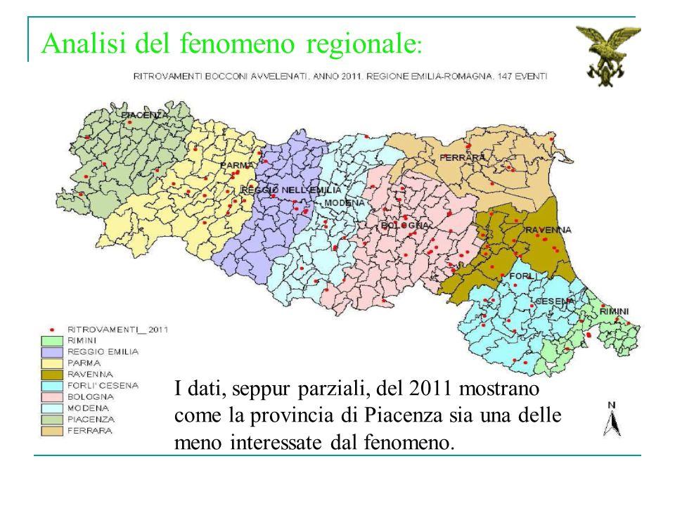Analisi del fenomeno regionale : I dati, seppur parziali, del 2011 mostrano come la provincia di Piacenza sia una delle meno interessate dal fenomeno.