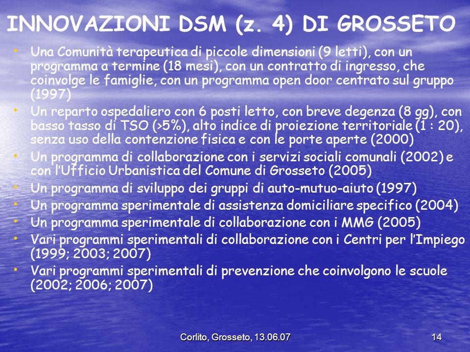 Corlito, Grosseto, 13.06.0714 INNOVAZIONI DSM (z. 4) DI GROSSETO Una Comunità terapeutica di piccole dimensioni (9 letti), con un programma a termine