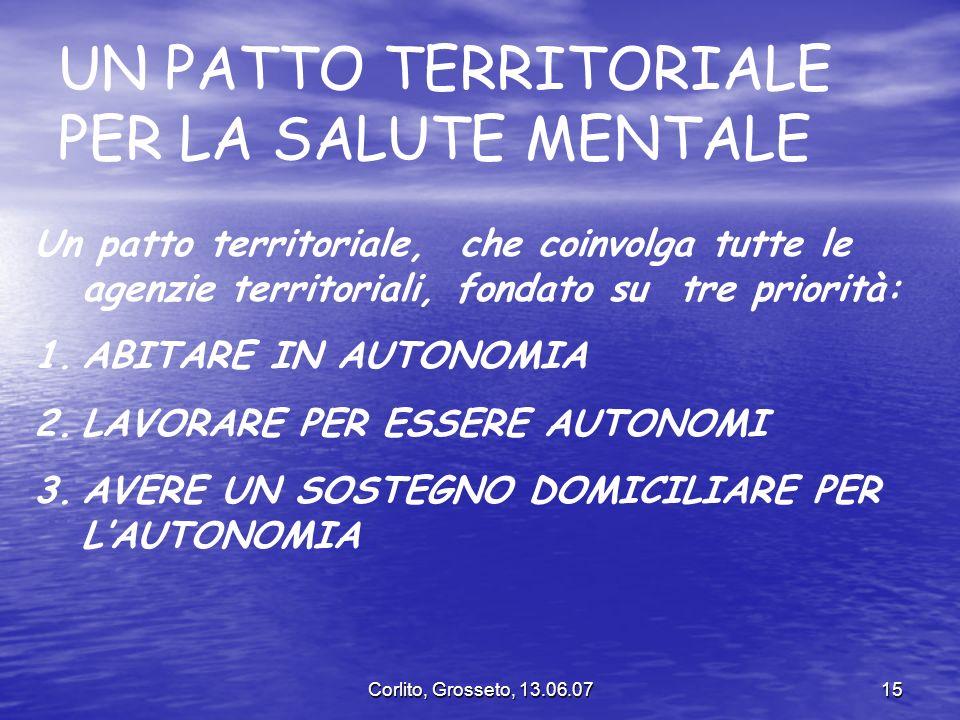 Corlito, Grosseto, 13.06.0715 UN PATTO TERRITORIALE PER LA SALUTE MENTALE Un patto territoriale, che coinvolga tutte le agenzie territoriali, fondato