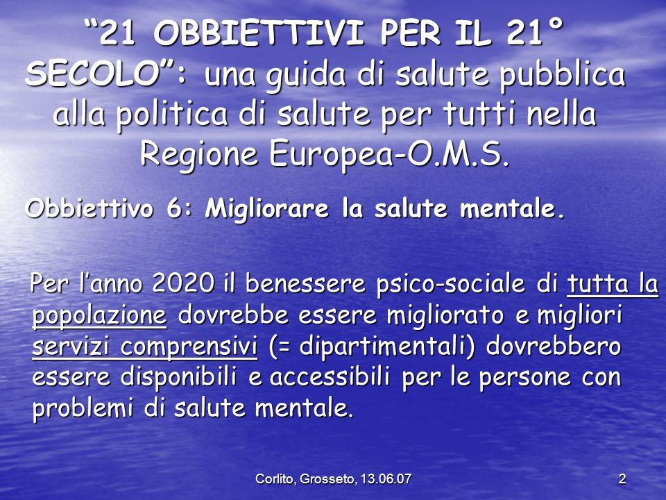 Corlito, Grosseto, 13.06.072 21 OBBIETTIVI PER IL 21° SECOLO: una guida di salute pubblica alla politica di salute per tutti nella Regione Europea-O.M