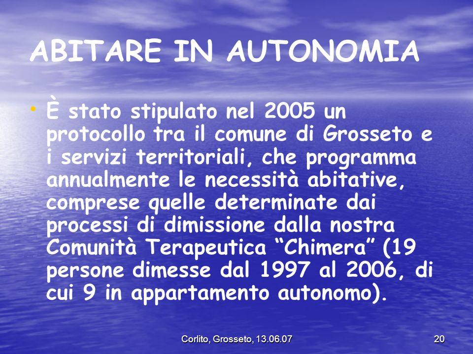 Corlito, Grosseto, 13.06.0720 ABITARE IN AUTONOMIA È stato stipulato nel 2005 un protocollo tra il comune di Grosseto e i servizi territoriali, che pr