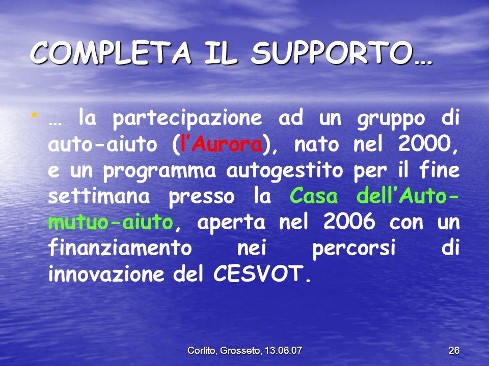 Corlito, Grosseto, 13.06.0726 COMPLETA IL SUPPORTO… … la partecipazione ad un gruppo di auto-aiuto (lAurora), nato nel 2000, e un programma autogestit