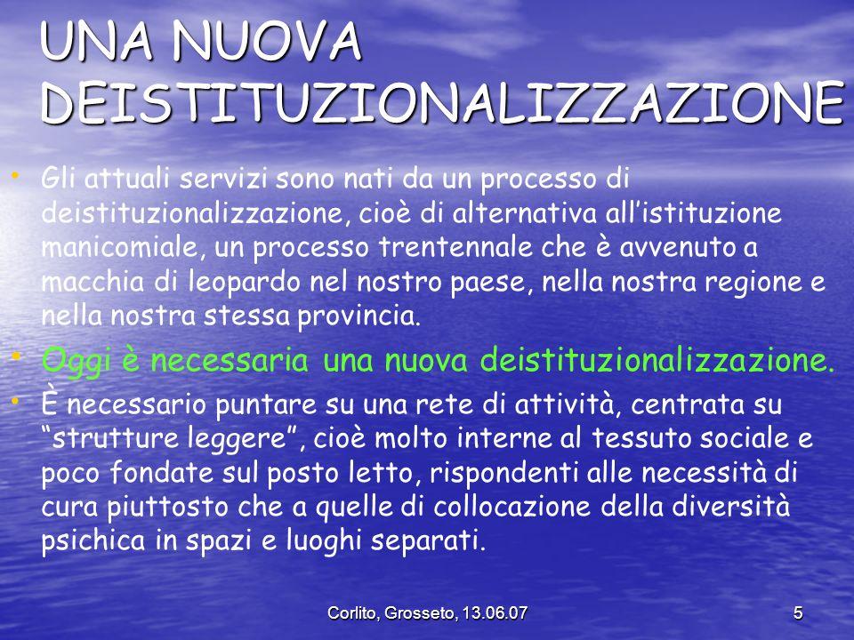 Corlito, Grosseto, 13.06.075 UNA NUOVA DEISTITUZIONALIZZAZIONE Gli attuali servizi sono nati da un processo di deistituzionalizzazione, cioè di altern