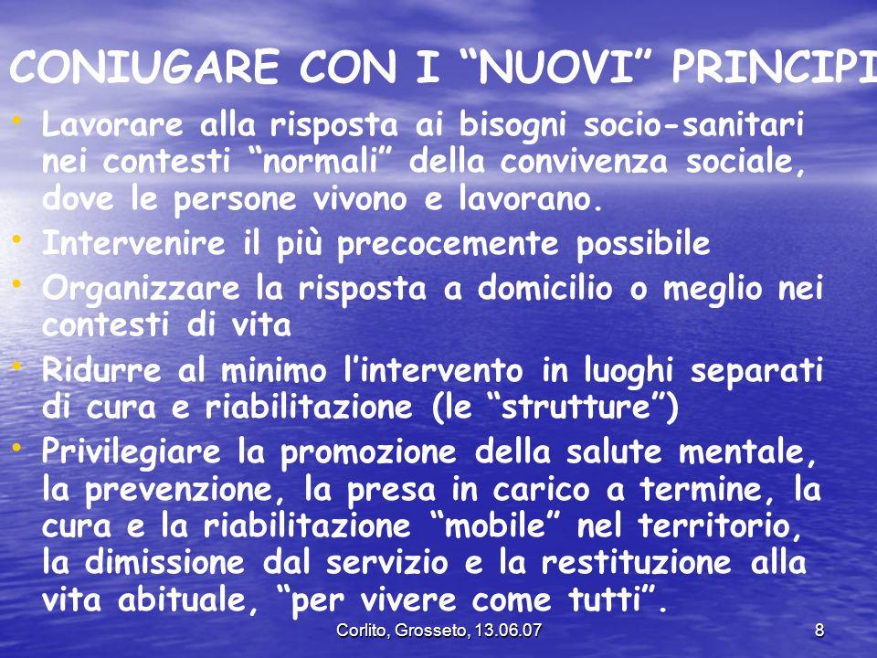 Corlito, Grosseto, 13.06.078 CONIUGARE CON I NUOVI PRINCIPI Lavorare alla risposta ai bisogni socio-sanitari nei contesti normali della convivenza soc
