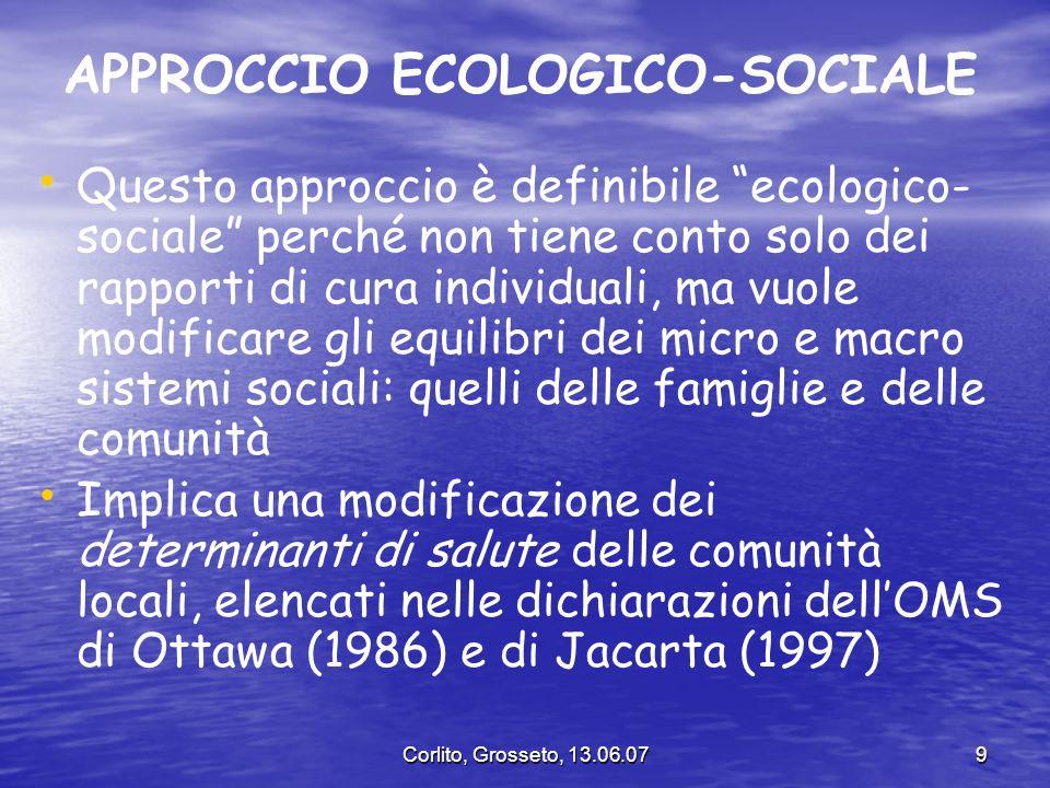 Corlito, Grosseto, 13.06.079 APPROCCIO ECOLOGICO-SOCIALE Questo approccio è definibile ecologico- sociale perché non tiene conto solo dei rapporti di