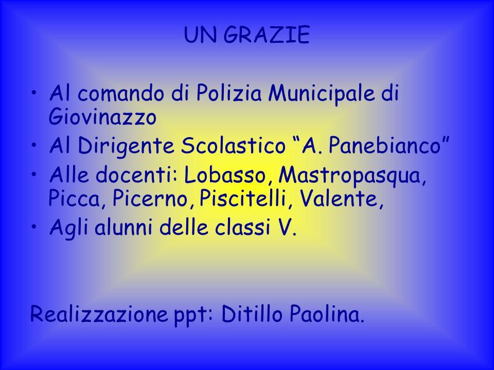 UN GRAZIE Al comando di Polizia Municipale di Giovinazzo Al Dirigente Scolastico A. Panebianco Alle docenti: Lobasso, Mastropasqua, Picca, Picerno, Pi