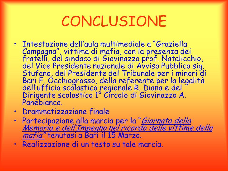 CONCLUSIONE Intestazione dellaula multimediale a Graziella Campagna, vittima di mafia, con la presenza dei fratelli, del sindaco di Giovinazzo prof. N