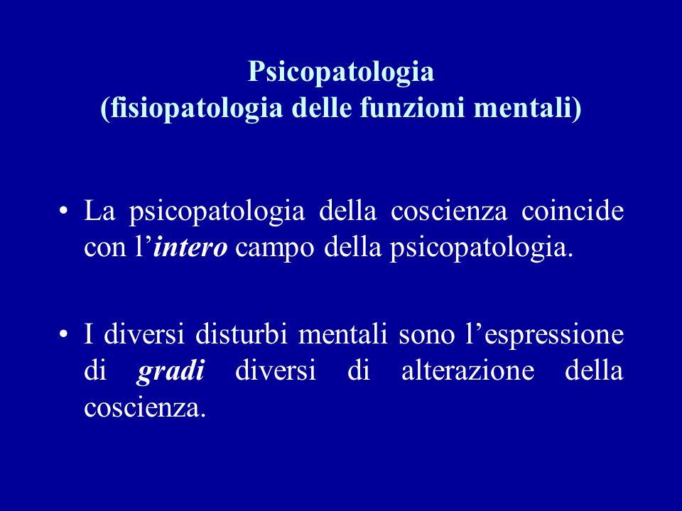 Psicopatologia (fisiopatologia delle funzioni mentali) La psicopatologia della coscienza coincide con lintero campo della psicopatologia. I diversi di