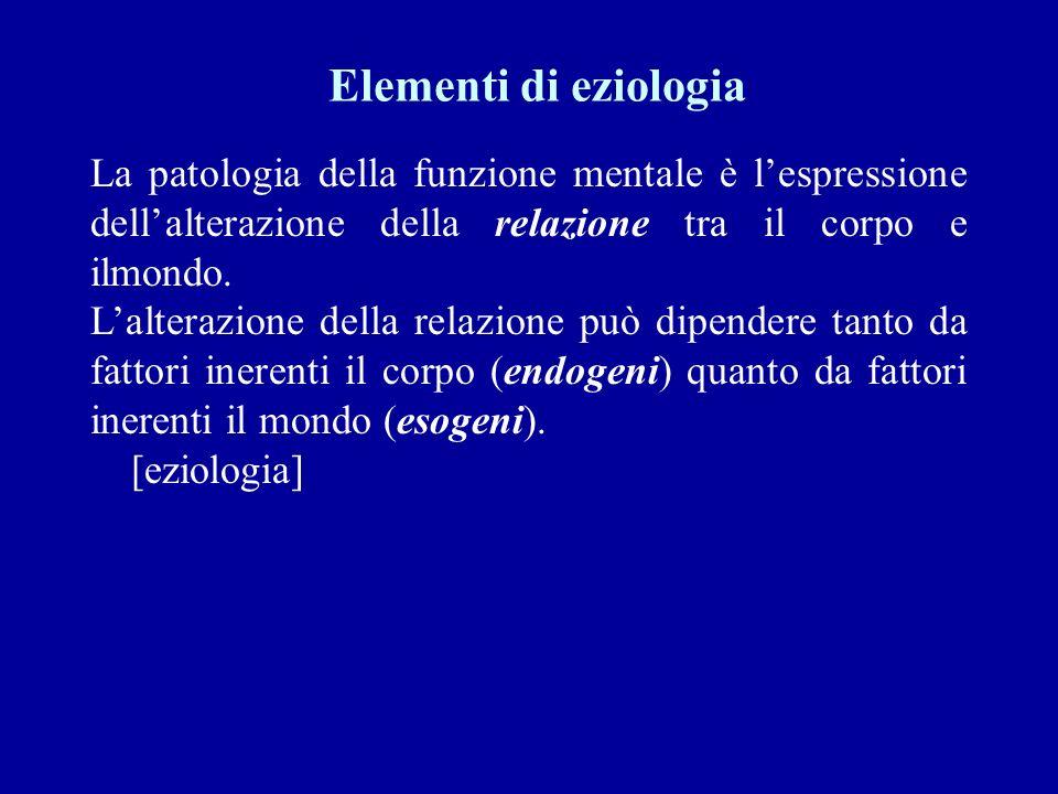 Elementi di eziologia La patologia della funzione mentale è lespressione dellalterazione della relazione tra il corpo e ilmondo. Lalterazione della re