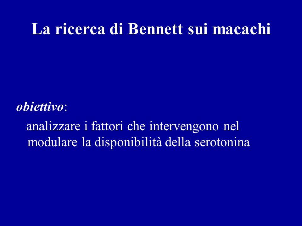 La ricerca di Bennett sui macachi obiettivo: analizzare i fattori che intervengono nel modulare la disponibilità della serotonina