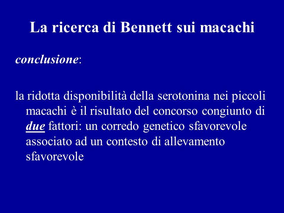 La ricerca di Bennett sui macachi conclusione: la ridotta disponibilità della serotonina nei piccoli macachi è il risultato del concorso congiunto di