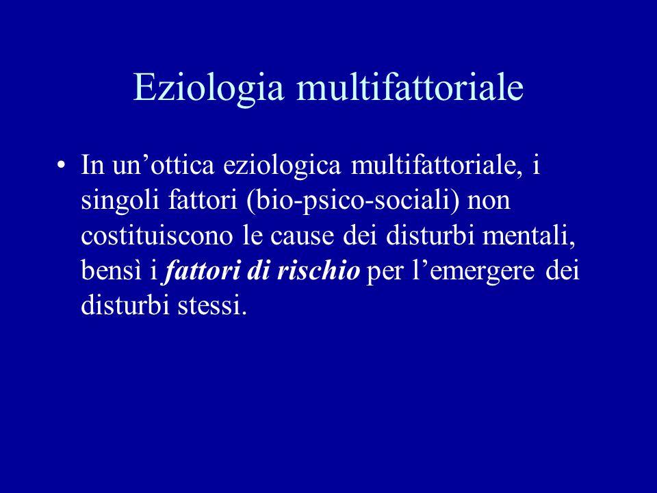 Eziologia multifattoriale In unottica eziologica multifattoriale, i singoli fattori (bio-psico-sociali) non costituiscono le cause dei disturbi mental