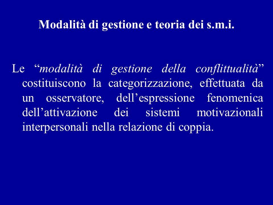 Modalità di gestione e teoria dei s.m.i. Le modalità di gestione della conflittualità costituiscono la categorizzazione, effettuata da un osservatore,