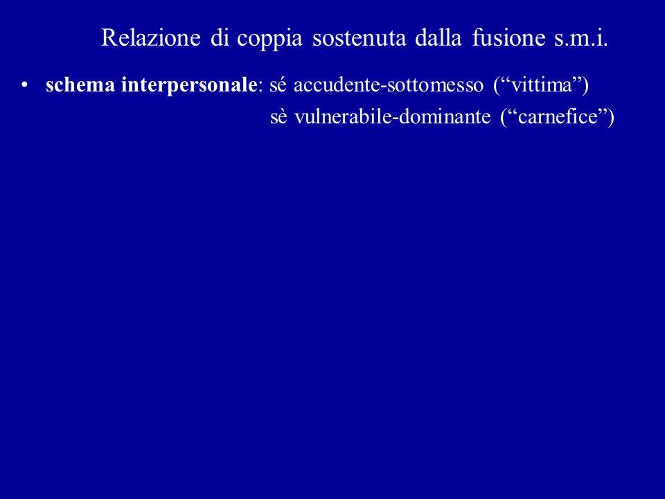 Relazione di coppia sostenuta dalla fusione s.m.i. schema interpersonale: sé accudente-sottomesso (vittima) sè vulnerabile-dominante (carnefice)