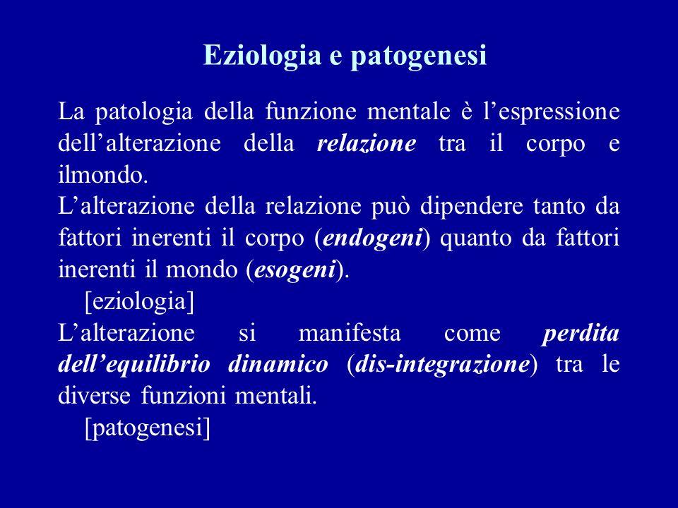 Eziologia e patogenesi La patologia della funzione mentale è lespressione dellalterazione della relazione tra il corpo e ilmondo. Lalterazione della r