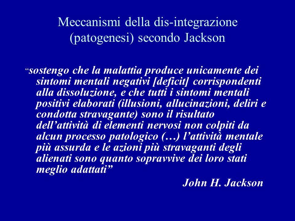 Meccanismi della dis-integrazione (patogenesi) secondo Jackson sostengo che la malattia produce unicamente dei sintomi mentali negativi [deficit] corr