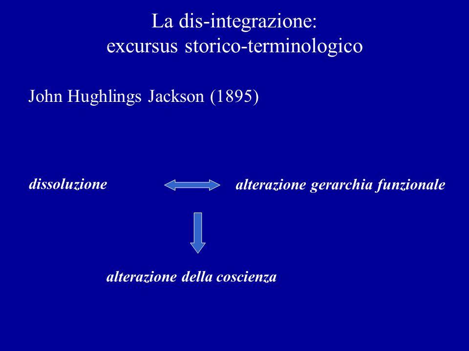 La dis-integrazione: excursus storico-terminologico John Hughlings Jackson (1895) dissoluzione alterazione gerarchia funzionale alterazione della cosc
