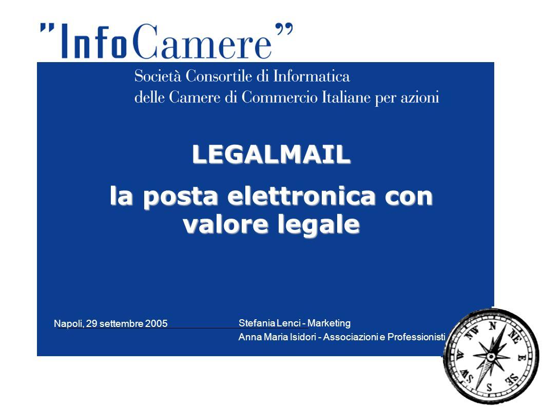LEGALMAIL la posta elettronica con valore legale Stefania Lenci - Marketing Anna Maria Isidori - Associazioni e Professionisti Napoli, 29 settembre 20