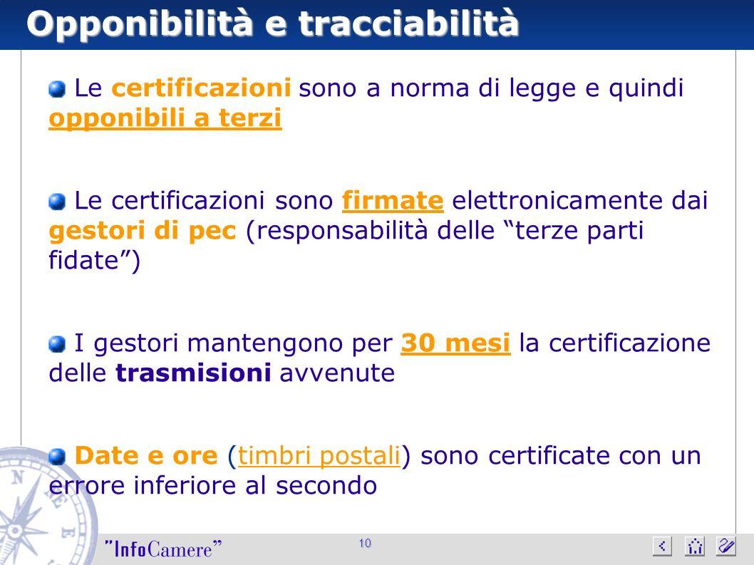 10 Opponibilità e tracciabilità Le certificazioni sono a norma di legge e quindi opponibili a terzi Le certificazioni sono firmate elettronicamente da