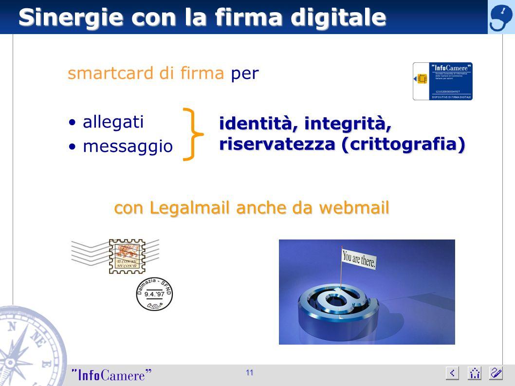 Sinergie con la firma digitale 11 smartcard di firma per allegati messaggio identità, integrità, riservatezza (crittografia) con Legalmail anche da we