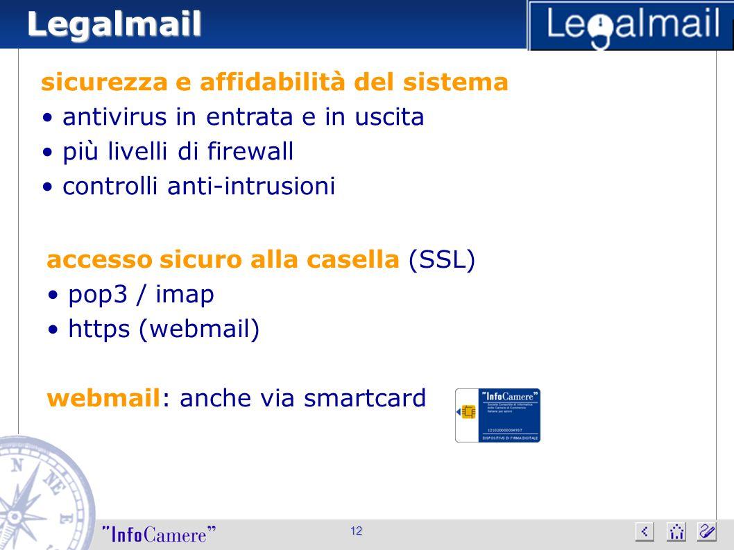 Legalmail sicurezza e affidabilità del sistema antivirus in entrata e in uscita più livelli di firewall controlli anti-intrusioni 12 accesso sicuro al