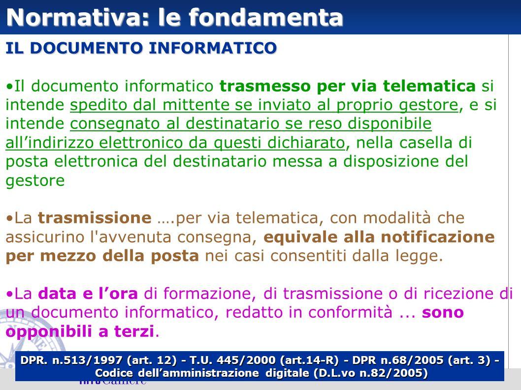 Normativa: le fondamenta IL DOCUMENTO INFORMATICO Il documento informatico trasmesso per via telematica si intende spedito dal mittente se inviato al