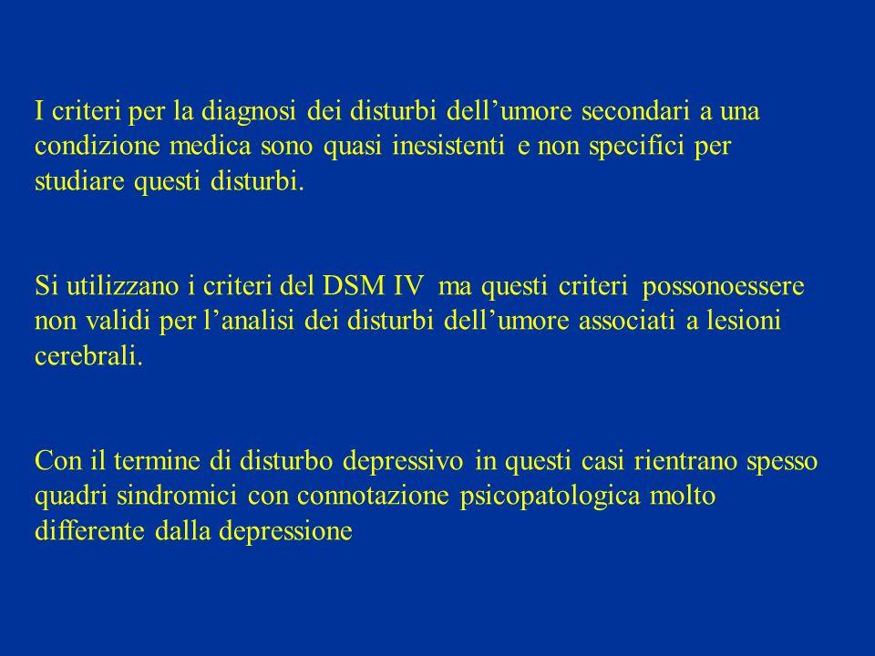 I criteri per la diagnosi dei disturbi dellumore secondari a una condizione medica sono quasi inesistenti e non specifici per studiare questi disturbi