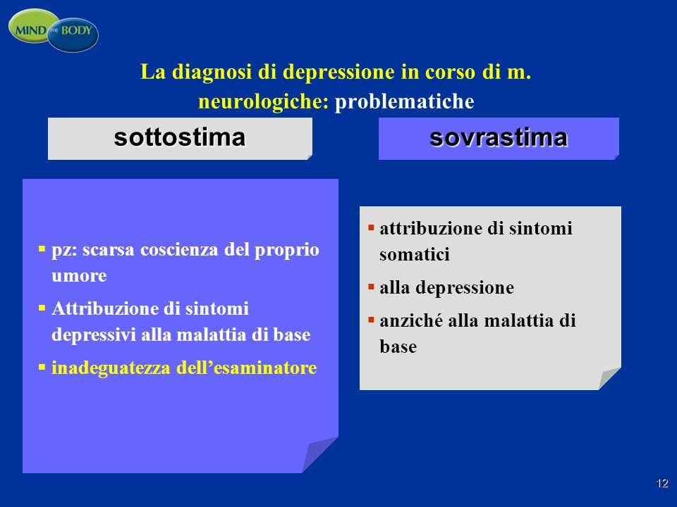 La diagnosi di depressione in corso di m. neurologiche: problematiche pz: scarsa coscienza del proprio umore Attribuzione di sintomi depressivi alla m